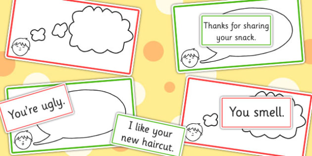 Think It Thought Bubbles And Say It Speech Bubbles Colour Coded