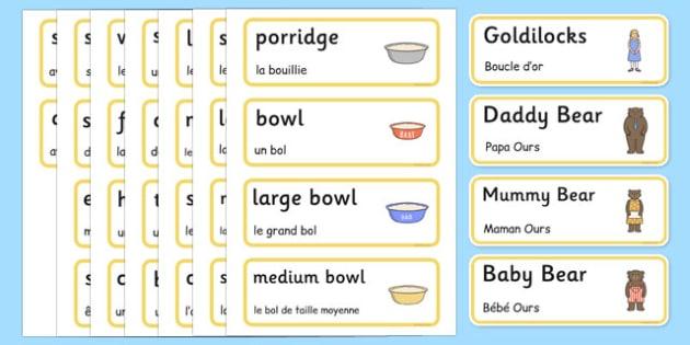 Goldilocks and the Three Bears Words Cards French Translation - french, Goldilocks and the Three Bears, traditional tales, word cards, tale, three bears, porridge, cottage, beds, flashcards