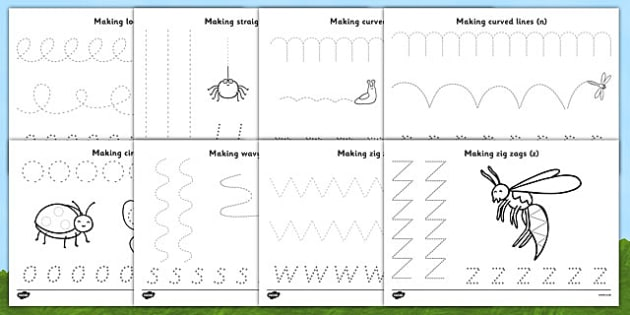 Fine Motor Control Worksheets : Minibeast theme pencil control worksheets