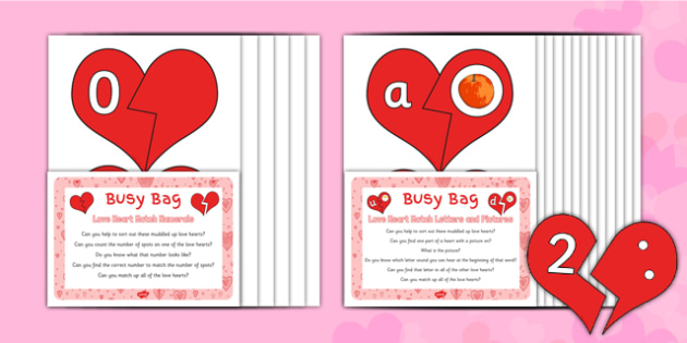 Love Heart Match Busy Bag Prompt Card and Resource Pack - Valentines, phonics, numbers, counting