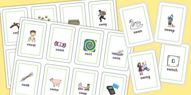 SW Flash Cards - sw sound, flash cards, flashcards, sound, activity
