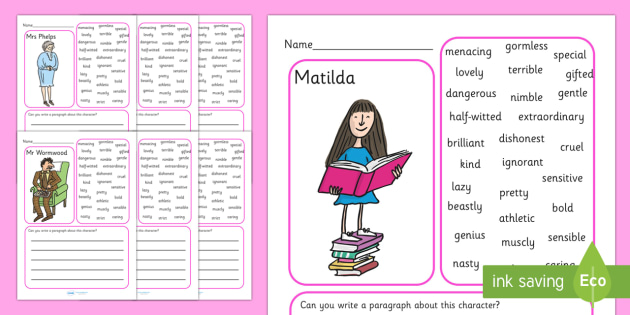 Description Writing Frames to Support Teaching on Matilda - matilda, matilda writing frames, writing frames, description writing frames, matilda description writing frames