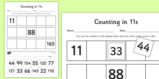 Counting in 11s Cut and Stick Activity Sheet - counting, count, cut and stick, activity, 11s, worksheet