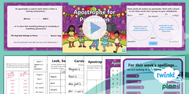 PlanIt English Y2 Term 3A W5: Apostrophes to Mark Possession Spelling Pack