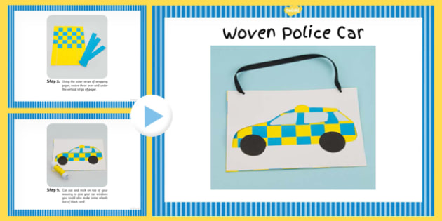 Woven Paper Police Car Craft Instructions PowerPoint - craft