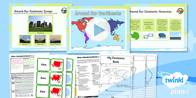 Geography: What a Wonderful World: Around Our Continents KS1 Lesson Pack 2