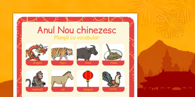 Anul Nou Chinezesc - Planșă vocabular