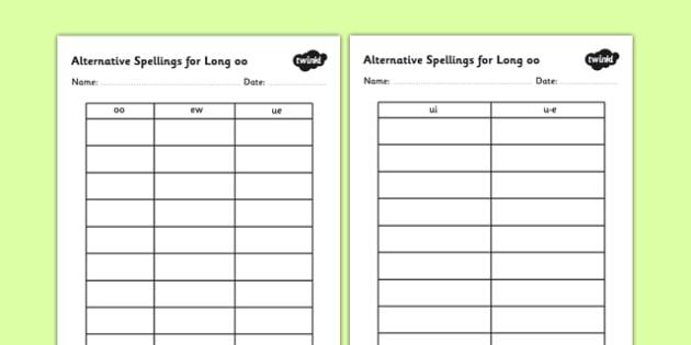 Alternative Spellings for Long oo Table Worksheets - alternative spellings for oo, table worksheet pack, table worksheet, oo worksheet