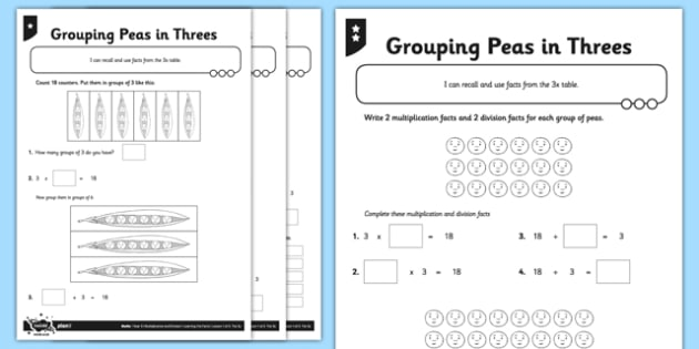 Year 3 Differentiated Pea Pod Arrays Worksheet Activity Sheet