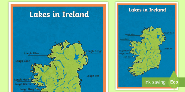 Map Of Ireland Lakes.Lakes Of Ireland Large Display Poster Geography Physical Lakes