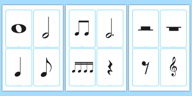 Blank Musical Note Cards Music Writing Notes Notation