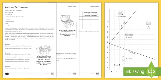 measure for treasure measuring bearings worksheet ks3 4 maths. Black Bedroom Furniture Sets. Home Design Ideas