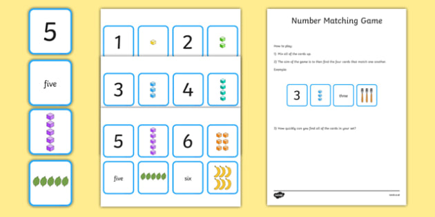 Number Matching Cards 1-10 - number, matching, match, cards, 1-10, maths