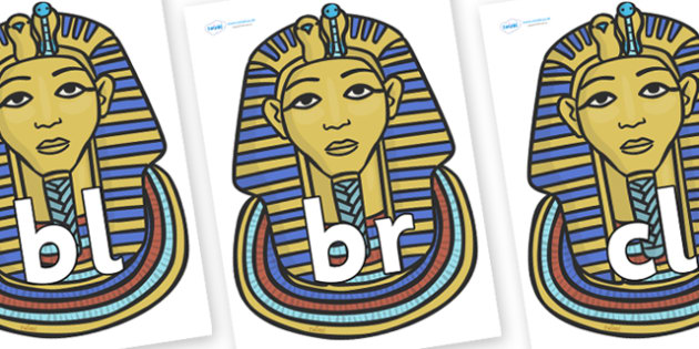 Initial Letter Blends on Mummy Masks - Initial Letters, initial letter, letter blend, letter blends, consonant, consonants, digraph, trigraph, literacy, alphabet, letters, foundation stage literacy