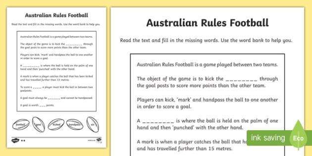 Soccer Rules Sheet: Australian Rules Football Differentiated Cloze Worksheet