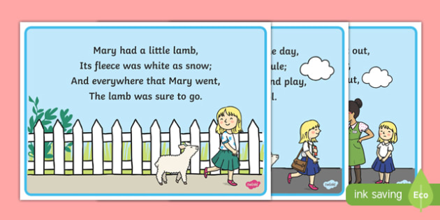 Mary Had a Little Lamb Nursery Rhyme Cards - mary had a little lamb, nursery rhyme, rhyme, cards