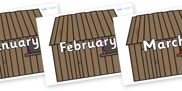Months of the Year on Wooden houses - Months of the Year, Months poster, Months display, display, poster, frieze, Months, month, January, February, March, April, May, June, July, August, September