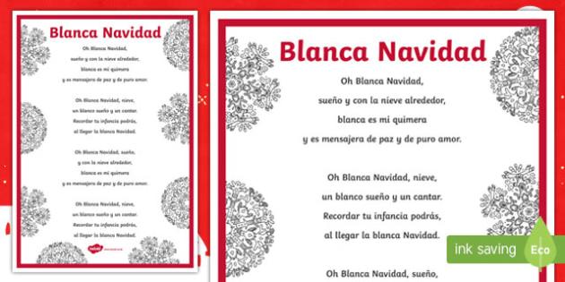 White Christmas Carol Lyrics Display Poster