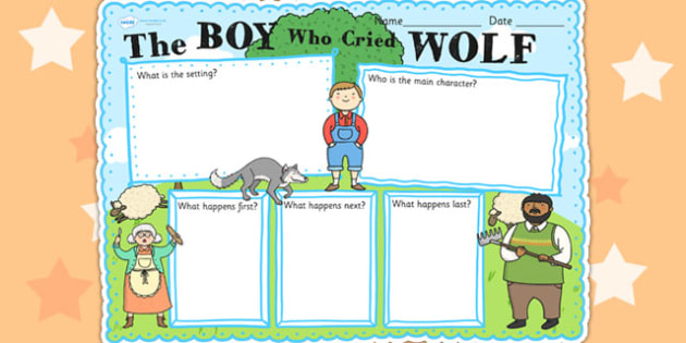 The Boy Who Cried Wolf Story Review Writing Frame - aesops fables