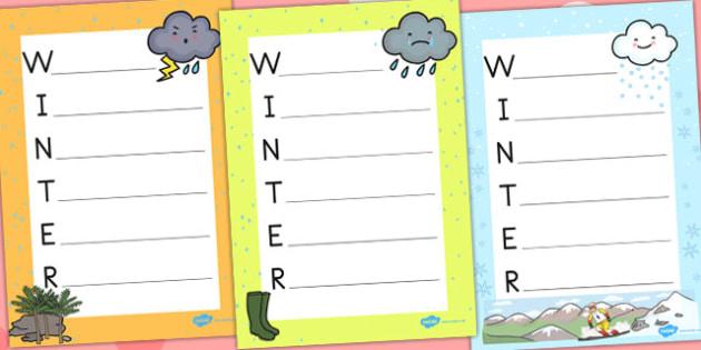 Winter Acrostic Poem Temperate - poems, poetry, seasons, weather