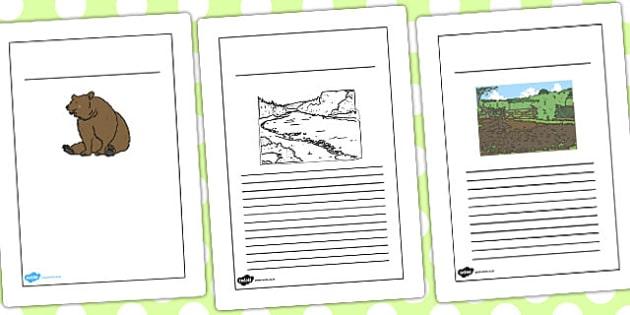 Bear Hunt Black and White Lined Writing Frames - bear hunt
