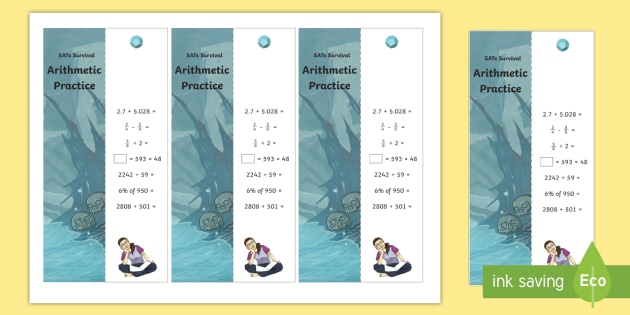 SATs Survival: Year 6 Arithmetic Practice Maths Bookmarks Pack 2