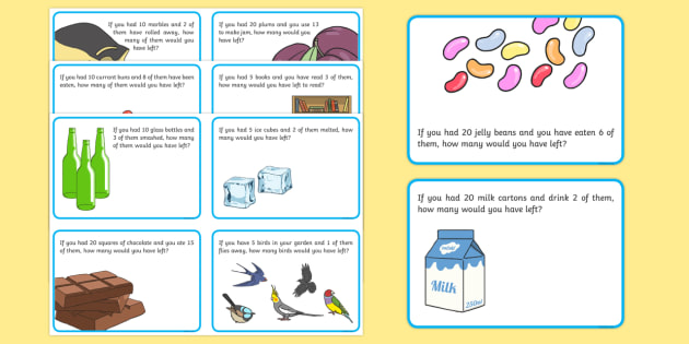Subtraction Word Problem Challenge Cards - Year 1, subtraction, word