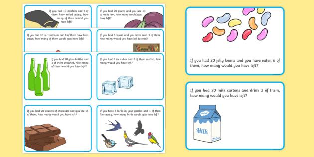 subtraction word problem challenge cards year 1 subtraction word. Black Bedroom Furniture Sets. Home Design Ideas