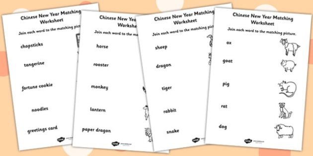 Chinese New Year Name and Picture Matching Worksheet Differentiated