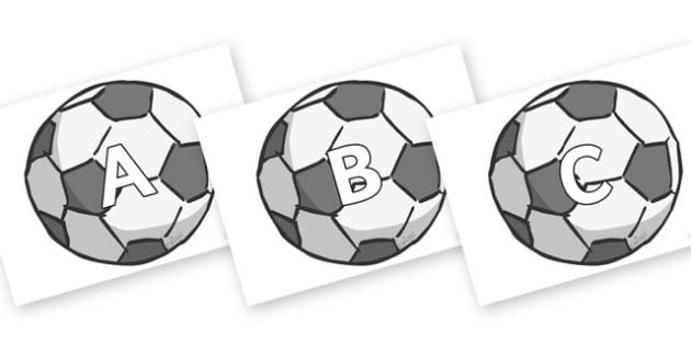 A-Z Alphabet on Footballs - A-Z, A4, display, Alphabet frieze, Display letters, Letter posters, A-Z letters, Alphabet flashcards