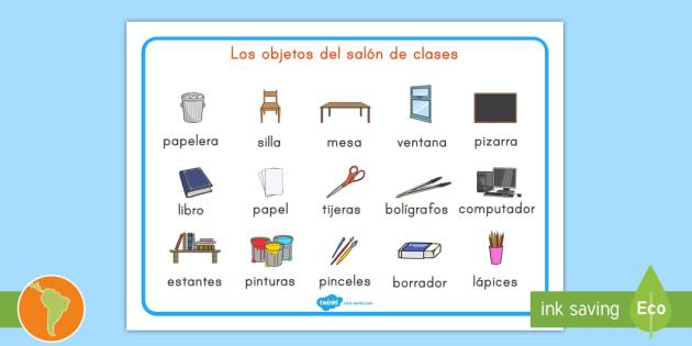 Tapiz de vocabulario objetos del sal n de clases objetos del for 10 objetos en ingles del salon de clases