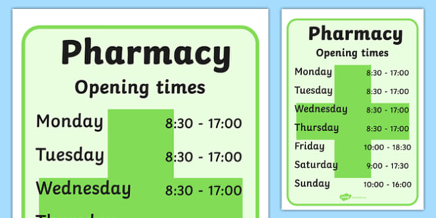 Pharmacy Role Play Opening Times - doctors, roleplay, props