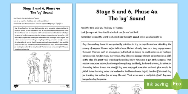 Northern Ireland Linguistic Phonics Stage 5 and 6 Phase 4a 'oy' Sound Activity Sheet  - NI,Worksheet, sound search, text
