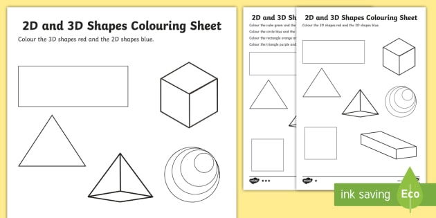 Black and White Australia - 2D and 3D Shapes Colouring Sheets