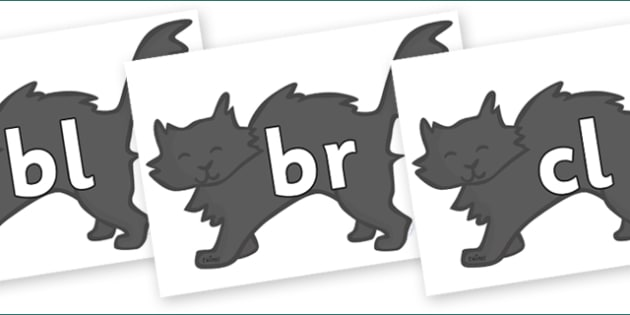 Initial Letter Blends on Black Cats - Initial Letters, initial letter, letter blend, letter blends, consonant, consonants, digraph, trigraph, literacy, alphabet, letters, foundation stage literacy