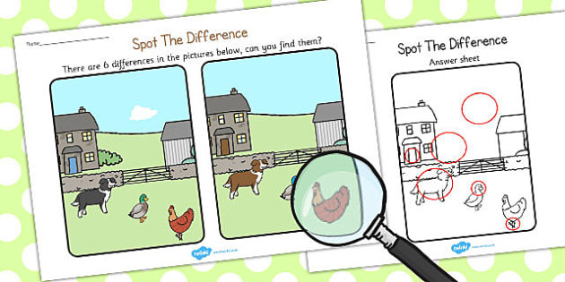 Little Red Hen Spot the Difference Activity - spot, difference