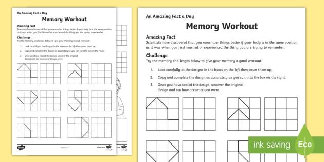 Memory Workout Activity Sheet