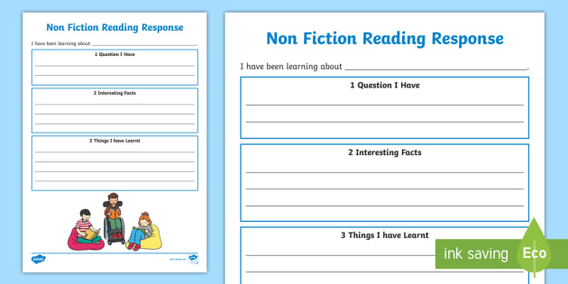 FREE Non Fiction Reading Response Worksheets Non
