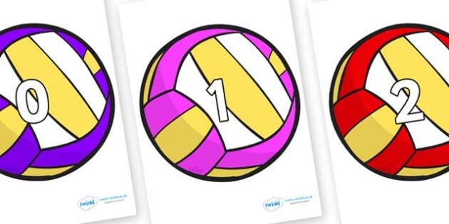 Numbers 0-31 on Volleyballs - 0-31, foundation stage numeracy, Number recognition, Number flashcards, counting, number frieze, Display numbers, number posters