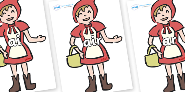 Phase 3 Phonemes on Little Red Riding Hood - Phonemes, phoneme, Phase 3, Phase three, Foundation, Literacy, Letters and Sounds, DfES, display
