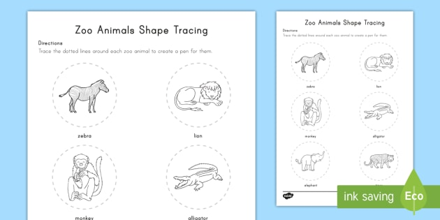 zoo animals shape tracing worksheet activity sheet early childhood. Black Bedroom Furniture Sets. Home Design Ideas