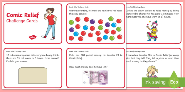 Ks1 Comic Relief Maths Challenge Cards Comic Relief Comic