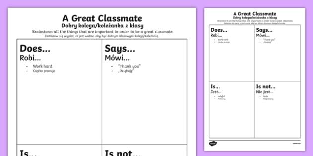 First Day Great Classmate Activity Sheet Polish Translation - polish, Back to School, new start, new class, behaviour, relationships, friendships, rules, responsibility, Scottish, worksheet