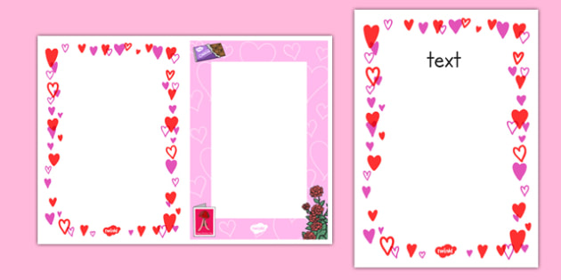 Editable Valentine S Day Card Insert Template Editable Valentines Day