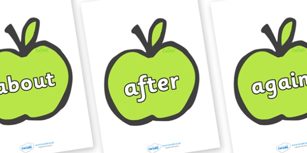 KS1 Keywords on Apples - KS1, CLL, Communication language and literacy, Display, Key words, high frequency words, foundation stage literacy, DfES Letters and Sounds, Letters and Sounds, spelling