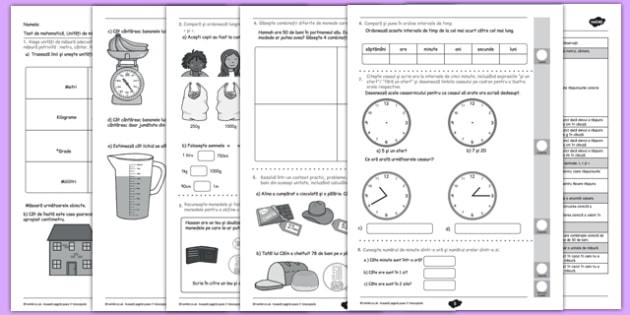 Unități de măsură - Test - Unități de măsură - Test - unitati de măsură, metru, fise, probleme, teste, litru, lungime, timp, volum