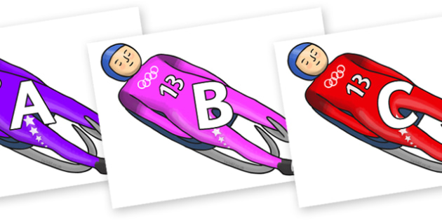 A-Z Alphabet on Luge - A-Z, A4, display, Alphabet frieze, Display letters, Letter posters, A-Z letters, Alphabet flashcards