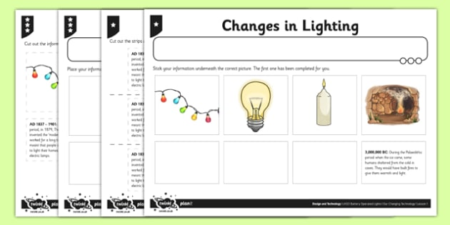 Changes in Lighting Activity Sheet - switches, series circuits, electircal systems, bulbs, ks2, key stage 2, science, worksheet