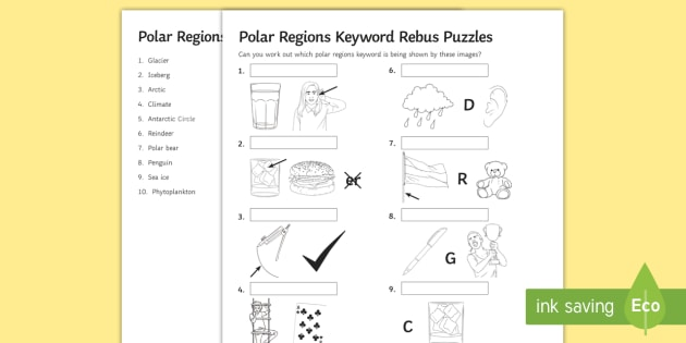 Polar Regions Keywords Rebus Puzzles Worksheet Activity Sheet