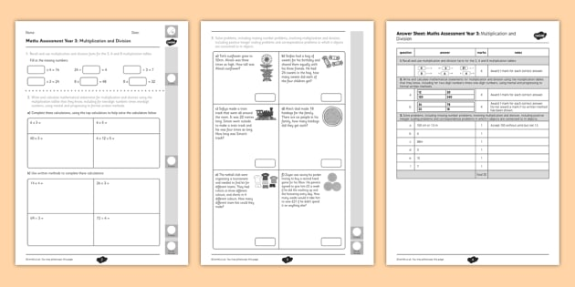 Year 3 Maths Assessment Multiplication and Division Term 1- divide